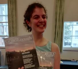 Diana Baon with a copy of Goodenough Magazine