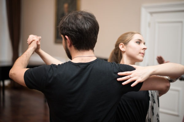 A man and a woman dancing together at Goodenough College