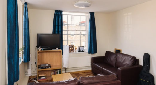 Living room in a typical two-bedroom flat