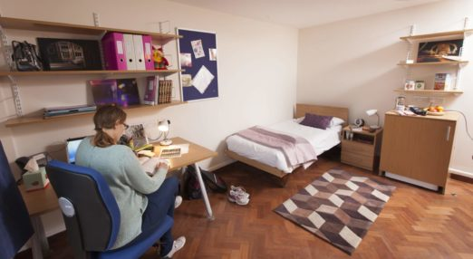 Typical study space in a Goodenough College single study bedroom