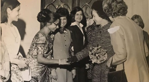 Khine Ngwe Aung meeting Queen Elizabeth II in 1975 at Goodenough College