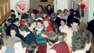 Valentine's party with happy people in William Goodenough House 1985