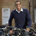 Member Lionel Nzigama with a bike at Goodenough College