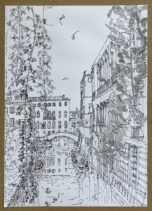 Drawing of a Venice canal by Amy Worthen Goodenough Alumna
