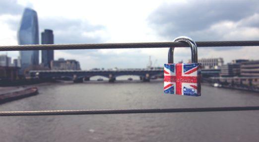Padlock with London skyline