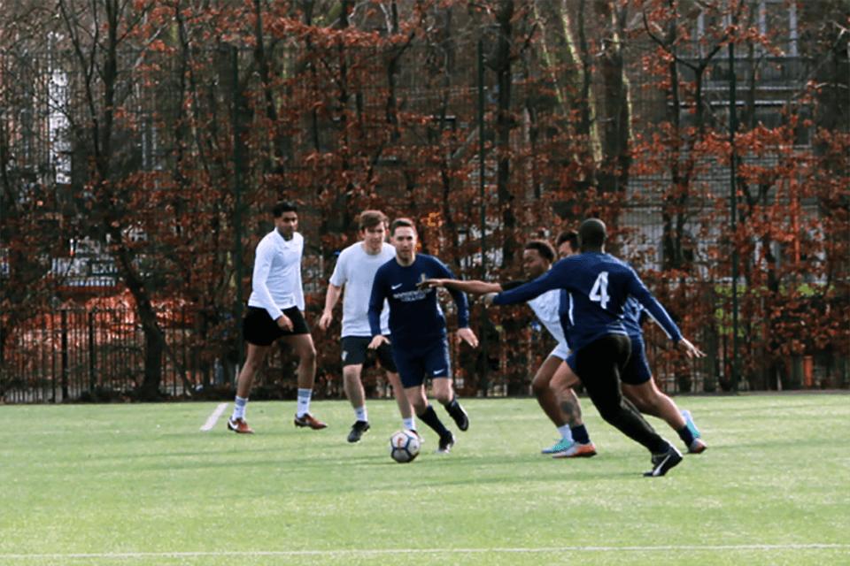 Members playing football