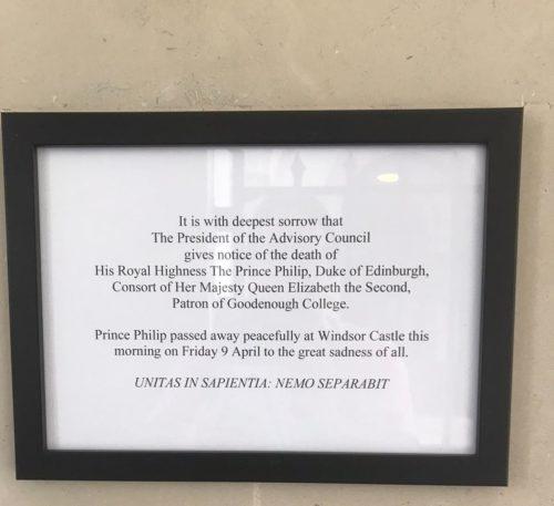 Announcement death of Duke of Edinburgh
